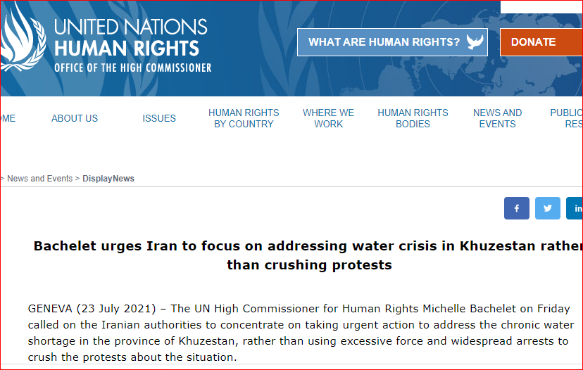 Bachelet urges Iran to focus on addressing water crisis